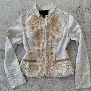 Yansi Fugel Cream Gold Fringe Jacket